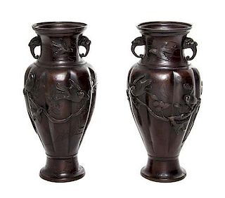 * A Pair of Japanese Bronze Vases Height 9 3/4 inches.