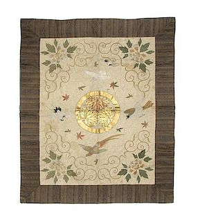 A Japanese Embroidered Mat Height 56 1/2 x width 46 inches.