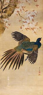 A Japanese Scroll Painting, Attributed to Komai Genki (1747-1797) Height 49 x width 29 1/4 inches.
