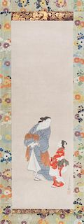 A Japanese Bijin Scroll Painting Height of image 36 3/4 x width 11 3/4 inches.