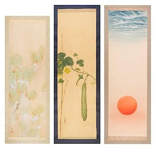 A Group of Three Ink and Color Scroll Paintings on Silk Height of largest 42 7/8 x width 14 inches.