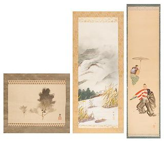 A Group of Three Ink and Color Scroll Paintings on Silk Height of largest 45 1/2 x width 11 inches.