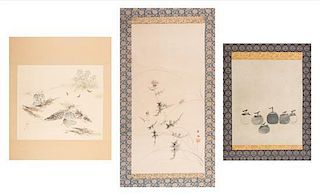 A Group of Three Ink and Color Scroll Paintings on Paper Height of largest 27 x width 12 7/8 inches.