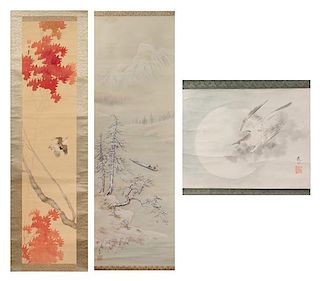 A Group of Three Ink and Color Scroll Paintings on Paper Height of largest 48 7/8 x width 16 inches.