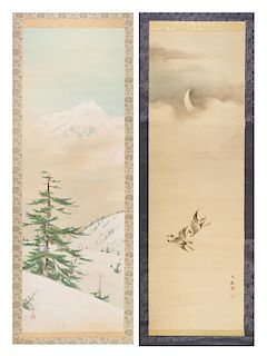 Two Ink and Color Scroll Paintings on Silk Height of larger 49 x width 16 1/4 inches.