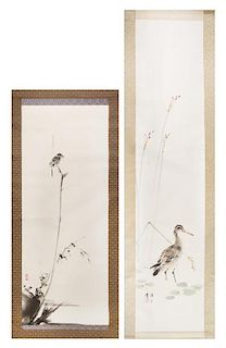 Two Ink and Color Scroll Paintings on Silk Height of larger 53 1/2 x width 11 3/4 inches.