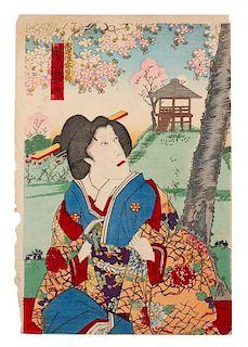 Toyohara Kunichika, (1835-1900), Geisha