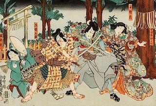 Kochoro Kunisada, (JAPANESE, 1786-1865), Male Figures