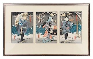 Utagawa Toyokuni, (1769-1825), depicting two men and a woman in a snow scene.