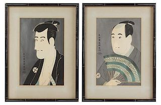 A Pair of Japanese Woodblock Prints Height of image 14 x width 9 1/8 inches.