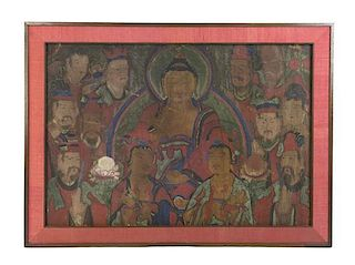 A Korean Buddhist Painting Height 27 x width 39 1/2 inches.