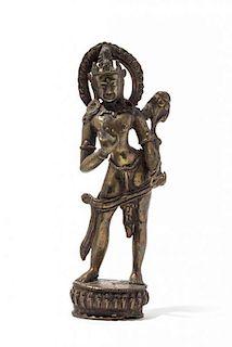 A Gilt Bronze Figure of a Bodhisattva Height 8 inches.