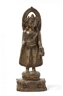 A Gilt Bronze Figure of a Bodhisattva Height 10 1/8 inches.