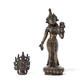 A Gilt Bronze Figure Height of taller 9 inches.
