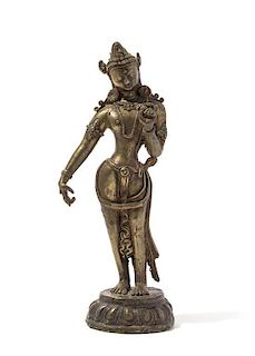 A Gilt Bronze Figure of Deity Height 8 7/8 inches.