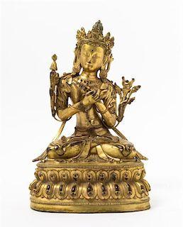 A Gilt Bronze Figure of a Bodhisattva Height 12 1/2 inches.