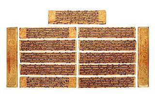 * A Burmese Gilt and Red Lacquer Manuscript Length 20 5/8 inches.