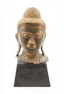 * A Burmese Bronze Head of Buddha Height of head 14 inches.