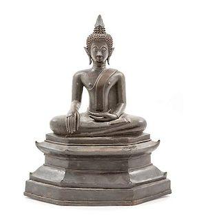 * A Thai Bronze Figure Of Buddha Height 15 1/8 inches.