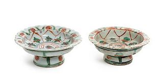 * Two Benjarong Stem Dishes Height 1 1/2 inches.