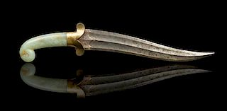 * A Mughal-Style Dagger with Jade Handle Length 15 inches.