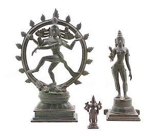 * Three Indian Bronze Deities Height 13 x width 9 1/2 inches.