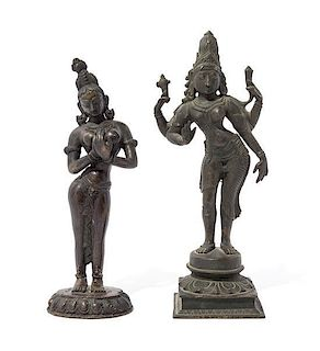 Two Indian Bronze Figures of Parvatis Height of taller 12 1/2 inches.