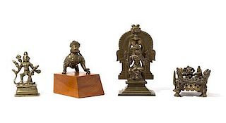 Four Indian Bronze Figures of Deities Height of tallest 6 1/2 inches.