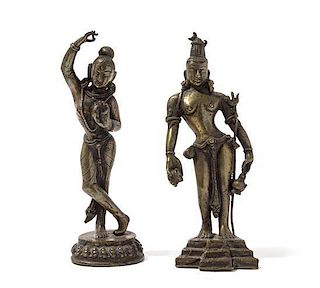 Two Indian Gilt Bronze Figures Height of taller 8 1/4 inches.