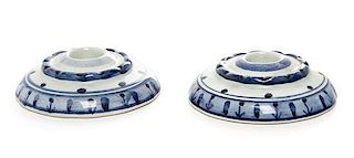 * A Pair of Persian Style Glazed Ceramic Candle Holders Diameter 4 inches.