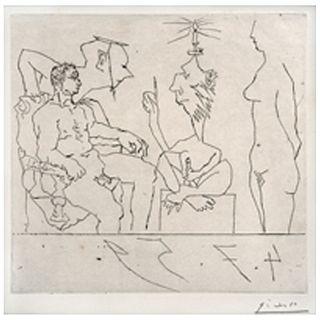 PABLO PICASSO, Philosophe discourant devant un notable, avec femme nue á droite.