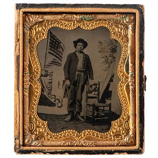 Sixth Plate Tintype Featuring African American Soldier with Stylized Patriotic Backdrop