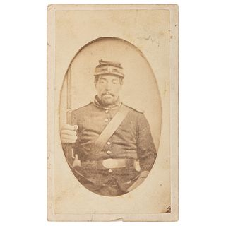 CDV Featuring African American Soldier Holding Musket, by W.H. Hertzog, Bath, PA
