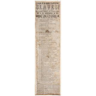 New Orleans Broadside Promoting Sale of Enslaved African Americans, Ca 1850s