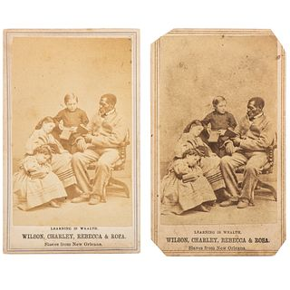 Slaves from New Orleans, Learning is Wealth, Pair of CDVs Incl. Wilson Chinn Reading to the Children