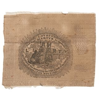 """Rare Abolitionist Ribbon Memorializing Elijah Parish Lovejoy, """"The First Martyr to American Liberty"""""""