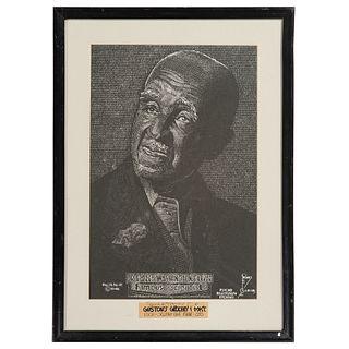 "George Washington Carver, ""Psycho Beautigraph Etching"" by Artist Felix B. Gaines, 1946"