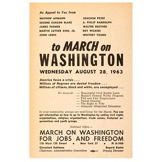 March on Washington for Jobs and Freedom, Printed Ephemera Including Promotional Handbill and Program, 1963