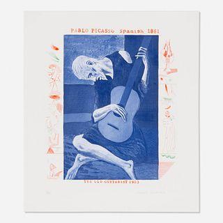 David Hockney, Old Guitarist from The Blue Guitar portfolio