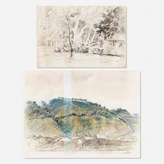 Jacobo Borges, Untitled (landscape) and Untitled (landscape 12 March 1976) from the from the La Montaña y su Tiempo suite