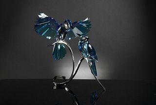 Boxed Swarovski Crystal Blue Jays