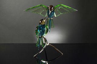 Boxed Swarovski Crystal Bee Eaters, Peridot