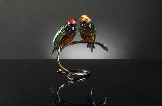 Boxed Swarovski Guoldian Finches, Peridot