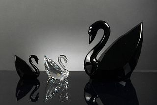 2 Boxed Swarovski Signed Swans, Artist Signed