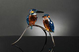 Boxed Swarovski Crystal Kingfishers, Turquoise