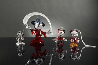 4 Boxed Swarovski Disney inc. 2 Sorcerer Mickeys