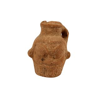 Ancient Egyptian Terracotta Vessel in the Form of Bes; Roman Period