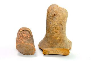 Lot of 2 Ancient Herodian Terracotta Amphora Handles c.1st century BC.