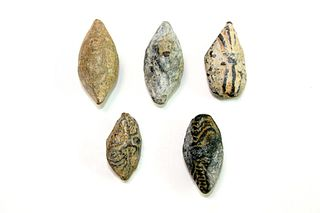 Lot of 5 Ancient Hellenistic Lead Sling Shots c.1st century BC.
