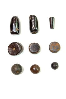 Lot of 9 Ancient Roman Hematite Stone Weights c.1st century AD.
